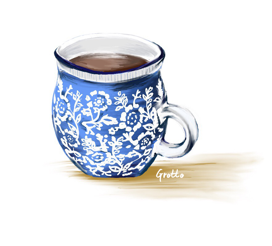 Grotto illustration of a blue and white floral mug filled with coffee.