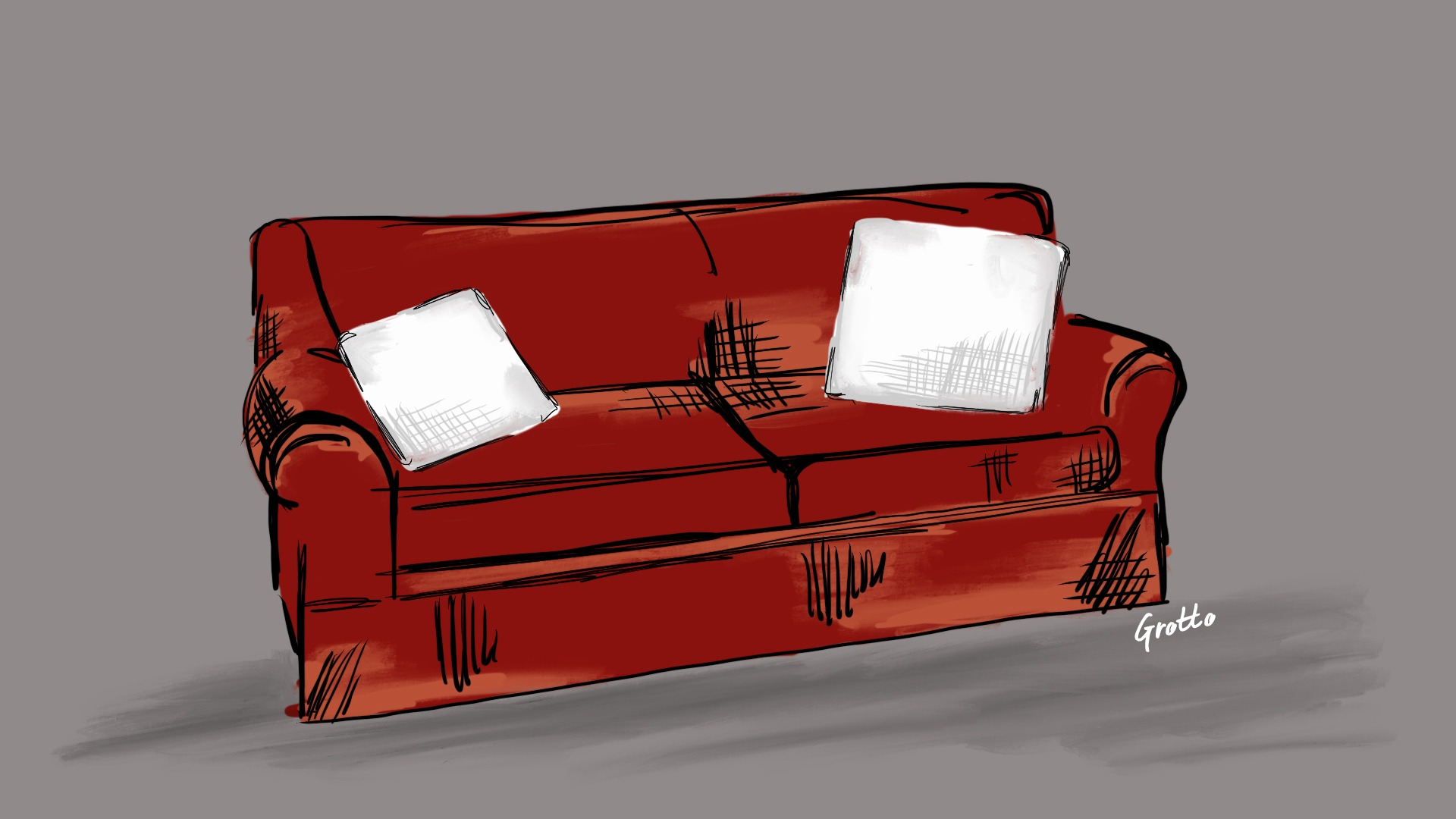 How to be hospitable to friends: host their couch-crash. Grotto illustration of a burgundy couch with two white throw pillows.