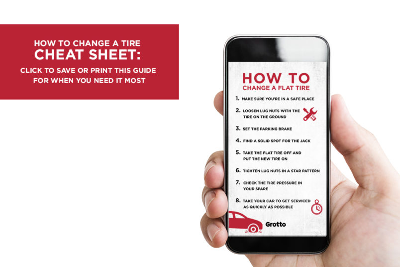 Download this cheat sheet for how to change a tire, and have it with you when it matters most.