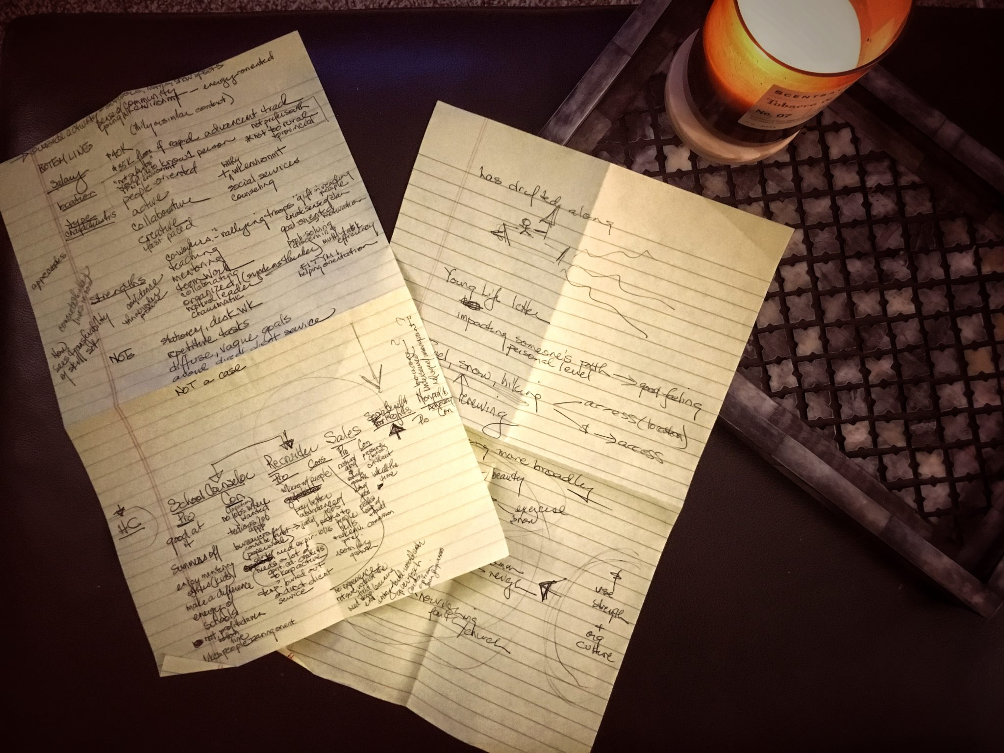 Before changing careers at 30, Carolyn kept these two pieces of yellow legal paper with notes about how Carolyn reevaluated her life and career path.