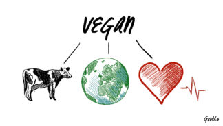"Grotto graphic illustrates why people are vegan. The word ""Vegan"" is centered with three lines branching to illustrations of a cow, the earth, and a heart with a heartbeat line."
