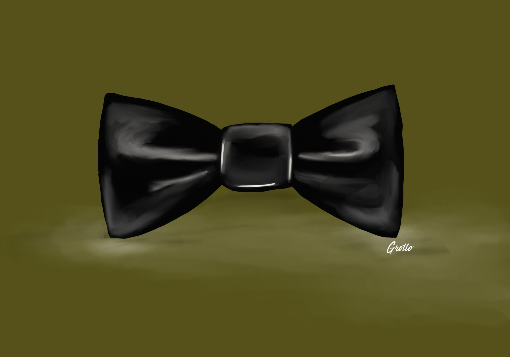 Grotto illustration of a black bow tie for the groom's duties in wedding planning.