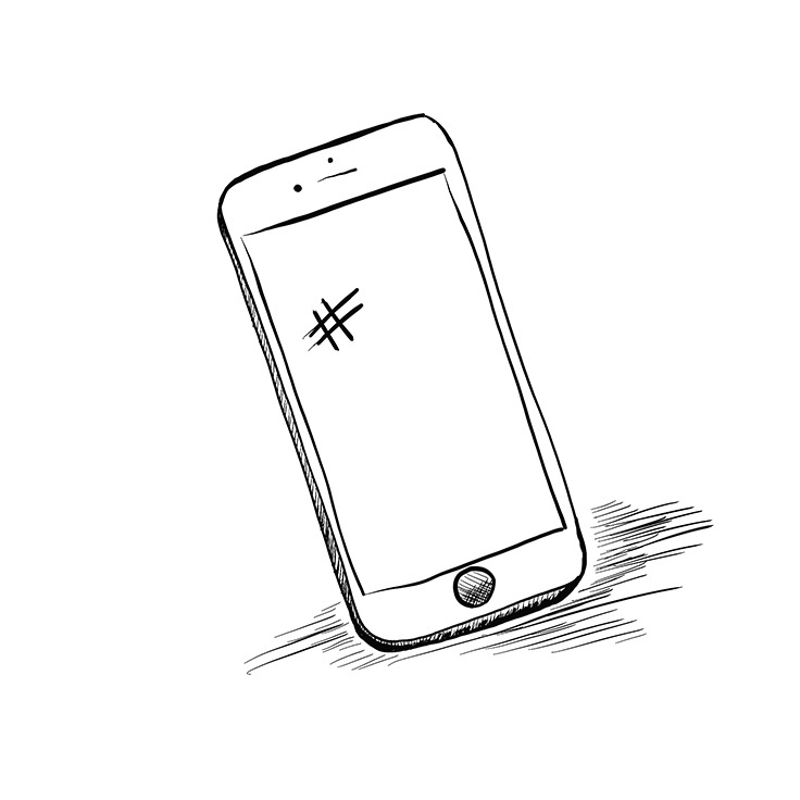 Grotto illustration of an iPhone with a hashtag on the screen.