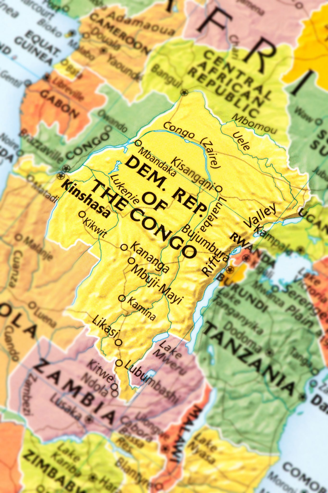 Map of the Democratic Republic of the Congo in Africa, the location of Virunga National Park.