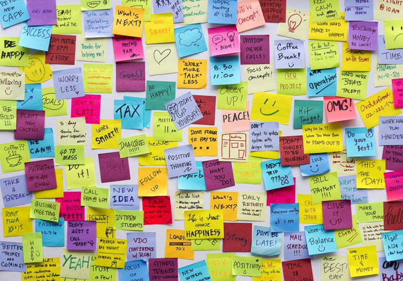 Here are some tips for making new year's resolutions using the SMART method, rather than just listing them on sticky notes, like this wall full of post-it notes.