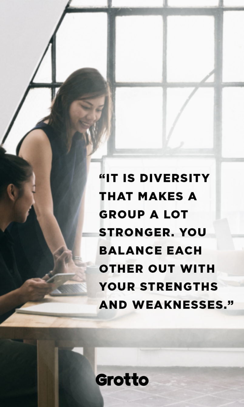 "Grotto quote graphic about introvert leaders: ""It is diversity that makes a group a lot stronger. You balance each other out with your strengths and weaknesses."""