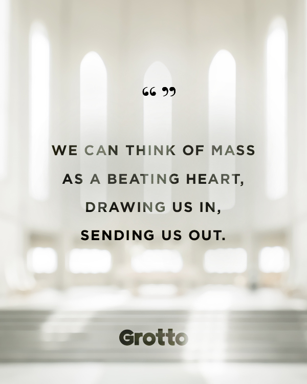 """Grotto quote graphic about what to know about Ash Wednesday Mass: """"We can think of Mass as a beating heart, drawing us in, sending us out."""""""